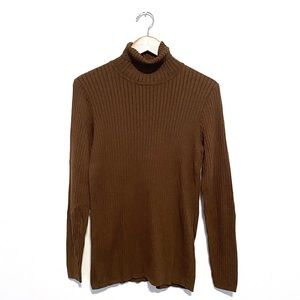PERUVIAN CONNECTION Brown Ribbed XL Turtleneck